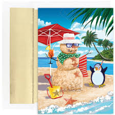 tropical christmas cards beachy sand snowman celebrating with penguin 18 boxed