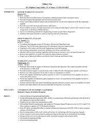exle of a simple resume warranty analyst resume sles velvet