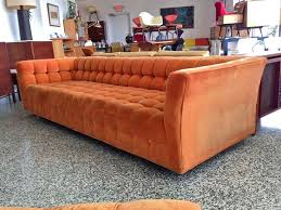 orange button tufted sofa with oversized ottoman at 1stdibs