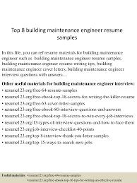 Sample Resume Objectives For Maintenance Mechanic by Maintenance Sample Resume Free Download Engineer Cover Letter