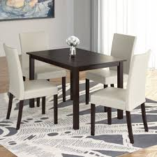 Atwoods Outdoor Furniture - corliving atwood 5 piece dining set with cream leatherette seats