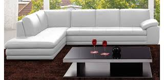 Beautiful White Leather Sectional With Ottoman 625 White Sectional