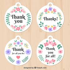 pretty floral thank you stickers vector free