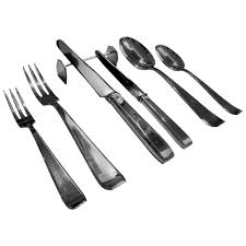 philippe wolfers art deco mona lisa silver flatware set and wood