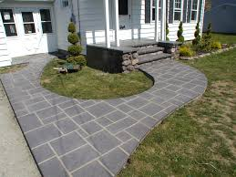 decorating white home design with stamped concrete patio for