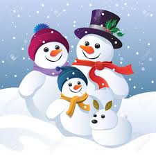 snowman family and snow dog in a winter landscape royalty free
