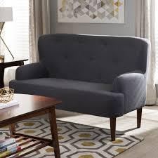Loveseat Settee Upholstered Baxton Studio Toni Mid Century Modern Dark Grey Fabric Upholstered