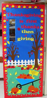 thanks then giving thanksgiving classroom door decoration