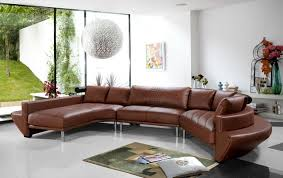 Contemporary Curved Sectional Sofa In Brown Leather Modern - Curved contemporary sofa living room furniture