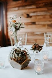 Wedding Reception Table Centerpieces Modern Fall Wedding Reception Table Decor Terrarium And Succulents
