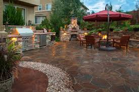 Stamped Concrete Backyard Ideas Backyard Landscape Design Pictures Lovetoknow