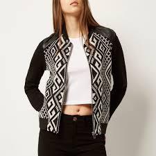 river island black geometric print er jacket in black lyst
