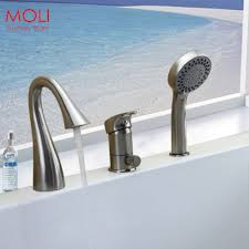 Roman Tub Faucets With Hand Shower Deck Mounted 3 Pieces Bathtub Faucet Nickel Brushed Roman Tub