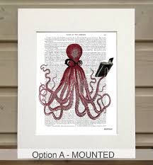 intelligent octopus print book print by fabfunky home decor