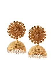 jhumki style earrings in gold shillpa purii gold pearl drops jhumkas shop earrings at