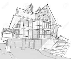 house to draw house vector technical draw royalty free cliparts vectors and