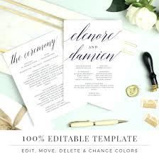 modern wedding programs template modern wedding program template