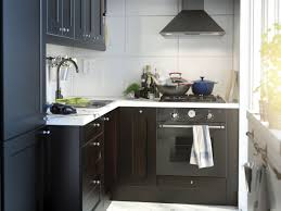 charmingly modern ikea kitchen design ideas captivating small kitchen decorating ideas with l shaped dark brown varnished oak kitchen island which has