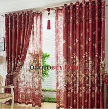 luxury burgundy faux silk jacquard floral living room curtain no