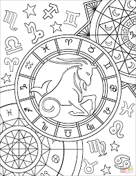 capricorn zodiac sign coloring page free printable coloring pages