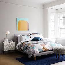 mod upholstered platform bed feather gray west elm