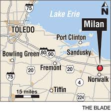 milan ohio map library displays inventor s statue the blade