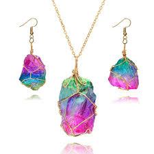 crystal stones necklace images Rainbow irregular quartz stone rock pendant crystal gemstone jpg