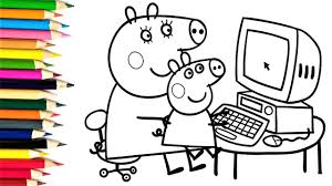 peppa pig coloring pages how to draw peppa pig computer