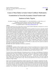 causes of mass failure in senior certificate mathematics exami u2026