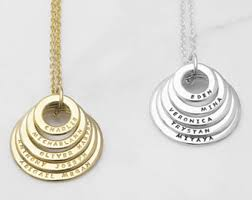 necklaces with names engraved necklace etsy