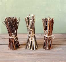 set of 3 birch wood bundles floral supplies birch wand natural