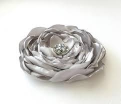 hair corsage silver flower hair clip gray flower brooch pin silver grey hair
