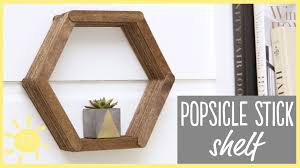 diy modern hexagon shelf made from popsicle sticks dollar