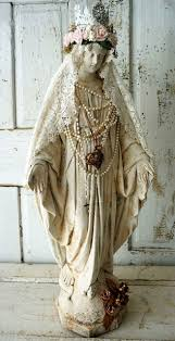 nordic decor large virgin mary statue plaster hand painted distressed antique