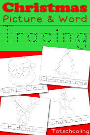 christmas picture u0026 word tracing printables totschooling