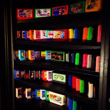 colorful famicom cartridges on display gaming and video game