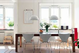 white bowl shaped pendant lamps for retro dining room decor ideas