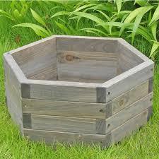 small 16 x 16 x 7 inch hexagon fir wood garden planter box