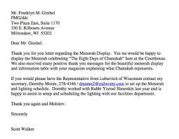 scott walker responds to letter regarding menorah u0027thank you and