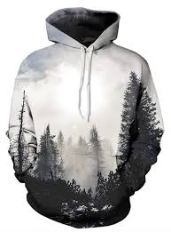 special long sleeve grey trees pattern pocket 3d painted hoodie