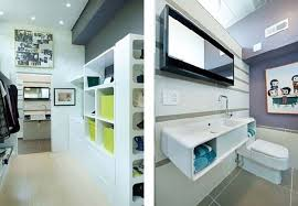 bathroom and workplace view in containers home interior design in