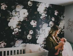 moody floral wallpapered nursery inspired by this