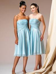 free shipping strapless ruched knee length blue bridesmaid gowns