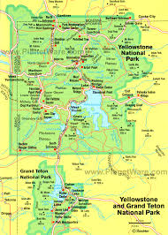 grand national park map yellowstone national park some attractions within map of