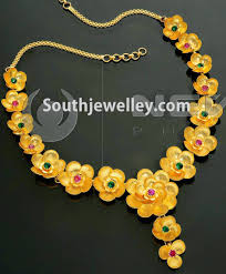 gold flower necklace designs images Floral gold necklace latest indian jpg