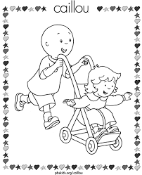 caillou playing rosie printable coloring nola