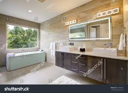 his and her bathroom contemporary master bathroom features dark vanity stock photo