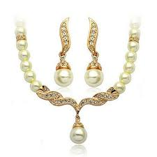 new gold set 2017 new wedding jewelry sets imitation pearl necklace