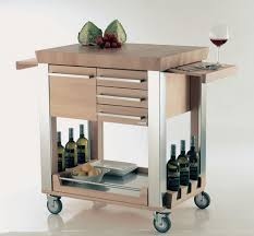 kitchen beige stained wooden movable kitchen island table with