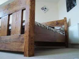Wooden King Size Bed Frame Handmade Chunky Rustic Reclaimed Wood Plank King Size Bed Frame